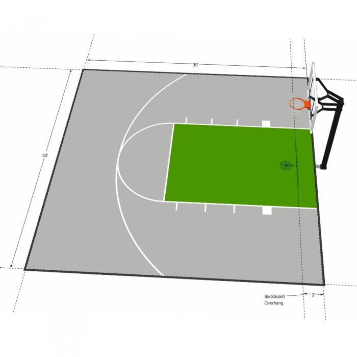 30×30 Basketball Half-Court Floor, Kit, Outdoor Indoor